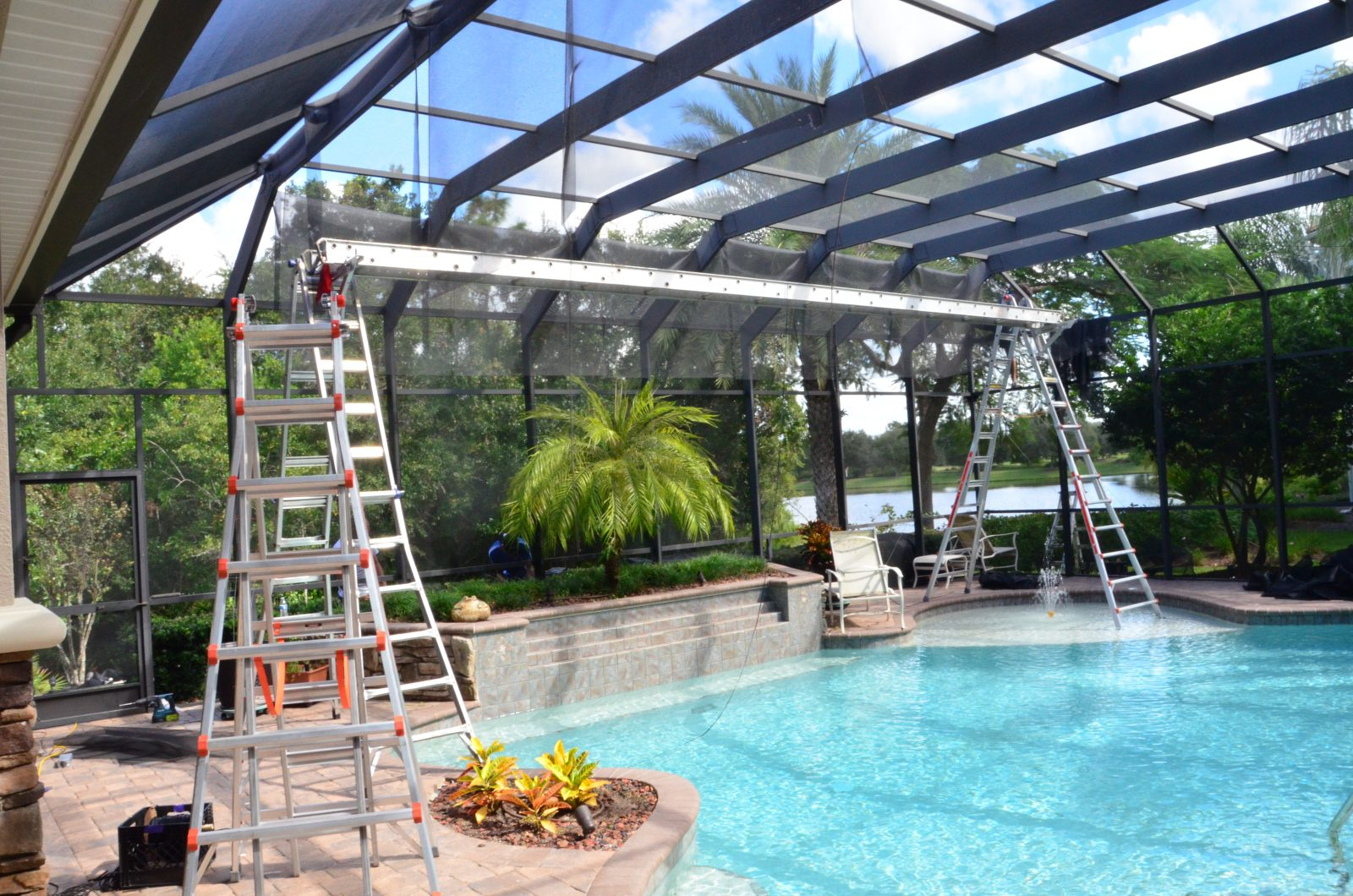 Rescreening pool cage sarasota bradenton venice for Pool privacy screen