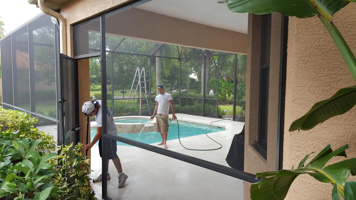 Clean Porch And Patio Screens Gulf Gate Rescreening